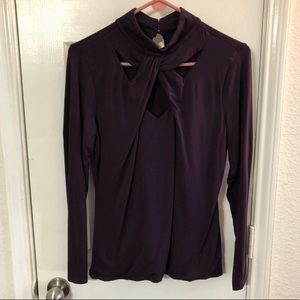 Purple turtleneck cutout top XL